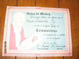 "Diplôme De COMMANDEUR    ""Ordre De MICKEY"" - Walt DISNEY 1958 - BD  (b94) - Diploma & School Reports"