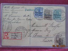 Carte Entier Postal De 1917 Avec Timbres Allemands Surchargés Belgien En Recommandé - Postcards [1909-34]