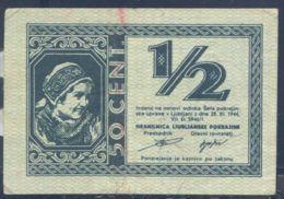 Ref. 3659-4096 - BIN YUGOSLAVIA . 1944. NAZI GERMANY 1944 YUGOSLAVIA SLOVENIA PROVINZ LAIBACH 1/2 LIRA 50 CENT - Yugoslavia