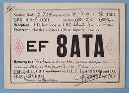 CP CAMBRAI CARTE ACCUSE RECEPTION TRANSMISSION RADIO AMATEUR DE 1929 - Radio Amateur