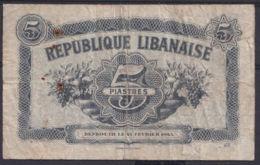 Ref. 2883-3306 - BIN LIBAN . 1944. LIBANAISE 5 PIASTRES 1944 - Libano
