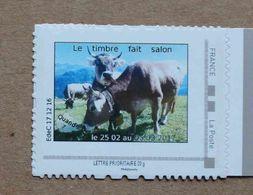P3-D4 : Le Timbre Fait Salon 25 02 Au 05 03 2017 -   Vaches  (autocollant / Autoadhésif) - Personnalisés