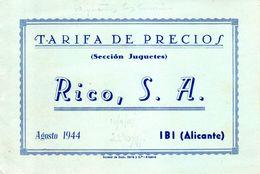 Catalogue RICO 1944 Tarifa Agosto El Primero Con Precios De Trenes Eléctricos- En Espagnol - Boeken En Tijdschriften