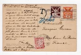 DD / CARTE POSTALE DE TCHÉCOSLOVAQUIE TP161 + TP172 + TT 33 DE FRANCE + CACHET T - 1859-1955 Cartas