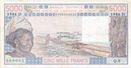 Ref. 943-1365 - BIN FRENCH WEST AFRICA . 1986. WEST AFRICAN STATES 5000 FRANCS 1986. WEST AFRICAN STATES 5000 FRANCS 198 - West-Afrikaanse Staten