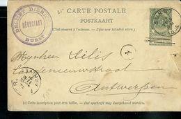 Entier N° 23. Obl. BURST 14/03/1895 Pour Anvers - Entiers Postaux
