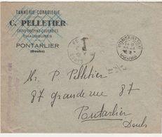 Enveloppe 23 Avril 1942 / Griffe Kommandantur 621 Pontarlier / 25 Doubs / Pour Pelletier Tanneur - 1939-45
