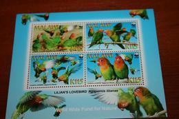 WWF  Malawi  Rare Mini-block   Birds Parrots - Parrots