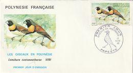 """Env. 1er Jour """"les Oiseaux En Polynésie"""". Superbe. - Perroquets & Tropicaux"""