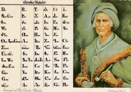 Cherokee Alphabet Native American Indian Chief Sequoyah, C1970s/80s Vintage Postcard - Native Americans