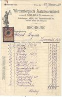 WIEN . WURTTEMBERGISCHE METTALLWARENFABRIK + TIMBRE FISCAL - Austria