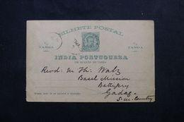 INDE PORTUGAISE - Entier Postal Pour Gadag-Betageri En 1888 - L 62647 - Inde Portugaise