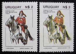 Uruguay 1981 Mnh - Yvert 1080 Variedad Variety -error Yellow Colour - Horseman Of Gral. Oribe Soldier Horse Pferd Cheval - Uruguay