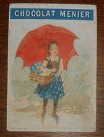 Chromo XIXe. Une Petite Fille Avec Un Parapluie Et Un Panier. - Menier