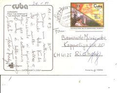 Cuba ( CP De 1989 De Varadero Vers La Suisse à Voir) - Cartas