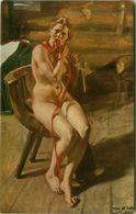 SALON DE PARIS - A. ZORN - PAYSANNE NUE SE PEIGNANT  - NU /  NAKED / NUDE WOMAN  - EDIT LAPINA 1910s (BG1454) - Tableaux