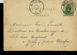 Entier Obl.  BRAIVES 20/12/1884 Pour Gilly - Marcophilie