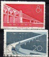Brücken 1957 China 347/8 O 1€ Bau Der Yangtse-Brücke Wuhan Mittelchina Luftbild Seiten-Photo Bridge Set Chine CINA - Usati
