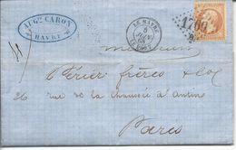 Le Havre Vers Paris T15 Losange GC 1769B Le Havre Le Port Sur N°23 40c 1868 - Marcophilie (Lettres)