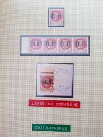 Lot Liberation Chalons / Marne, 1f50 Bersier, Bande De 4, 1 Oblitéré Reims Sur Fragment - Liberation