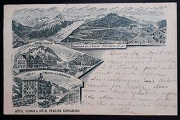"""Schweiz 1901, Litho """"Hotel Furka"""" FURKA Gelaufen GRAND Belgien - 1882-1906 Armoiries, Helvetia Debout & UPU"""
