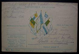 1916 Carte En Franchise Avec Frappe à Sec, Drapeaux, Du 83e D'artillerie Lourde Secteur 24, Pour Mme Huguet à Bayonne - Postmark Collection (Covers)