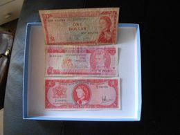 TRINIDAD  1964  -  BARBADOS    1973   - CARIBBEAN  1965   -  3  ONE  DOLLAR    BILLETS  LOT  -  RARE - Trindad & Tobago