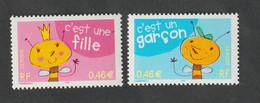 """Timbre  -  2002  - Timbres Pour Naissances  -  N °3463/64  - """"c'est Une Fille , C'est Un Garçon  """"   Neuf Sans Charnière - Unused Stamps"""