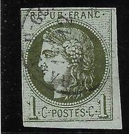 France N°39Ba Olive Foncé Signé Richter Oblitéré C. à Date  Cote 230€ - 1870 Bordeaux Printing