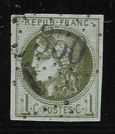 France N°39Ab Olive Foncé, Oblitéré GC 350 Bauduen (78) Ind 18. Variété Perles. Cote +500€ - 1870 Bordeaux Printing