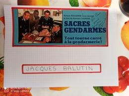 AUTOGRAPHE DE JACQUES BALUTIN, DÉDICACÉ & AUTHENTIQUE SUR COUP. DE PRESSE COLLÉE SUR GRD. CARTON. BRISTOL (V. Desc.) - Autographs