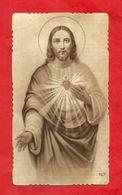 PS54--- ANTICO SANTINO SEPPIATO FUSTELLATO -- SACRO CUORE DI GESU'-------- 2 SCANS - Devotion Images