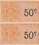 Maroc. Protectorat Français. 2 Timbres De Quittance. Fiscaux. 50 C. Gomme Origine. 1948 - Fiscales