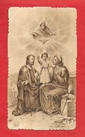 PS54--- ANTICO SANTINO 1890  SEPPIATO E FUSTELLATO -- SACRA FAMIGLIA ------ 2 SCANS - Devotion Images