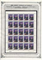 DJIBOUTI- N°670 NEUF EN FEUILLE COMPLETE DE 25 CENTENAIRE DE LA NAISSANCE DE CHARLES DE GAULLE 1890 1970 - COTE : 112€50 - De Gaulle (General)