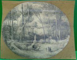 De 1893 DESSIN AU CRAYON . PROMENADE DANS UN SOUS BOIS Dans Le Goût De Barbizon  , OLD  DRAWING - Drawings