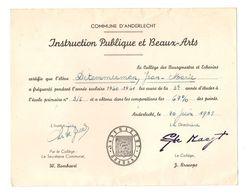 Certificat De Présence Instruction Publique Et Beaux-Arts Collège Des Bourgmestre Et Echevins Anderlecht En 1961 - Diploma & School Reports