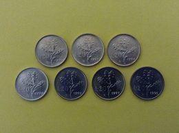 ITALIA REPUBBLICA LOTTO 7 MONETE FDC ITALY COINS UNC 20 LIRE RAMO DI QUERCIA 92 93 94 95 96 97 98 - 1946-… : Republic