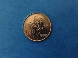 1999 ITALIA REPUBBLICA MONETA DA 20 LIRE RAMO DI QUERCIA FDC UNC DA ROTOLINO - 1946-… : Republic