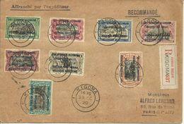 1920 Deutsch Ost-Afrika Surcharge Occupation Belge Série Complète Sur Lettre Recommandée De KIGOMA Vers PARIS - Congo Belge