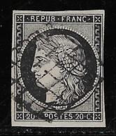 N° 3 CERES 20 C. NOIR S. JAUNE OBLITERE TB COTE 65 € - 1849-1850 Cérès