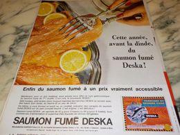 ANCIENNE PUBLICITE SAUMON FUME DESKA 1964 - Affiches