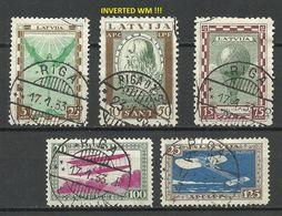LETTLAND Latvia 1932 Michel 210 - 214 A * Incl. Michel 211 INVERTED WM) - Lettland