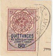 Maroc. Protectorat Français. Timbre De Quittance. Fiscal. 50 C. Sur Fragment De Papier. - Fiscales