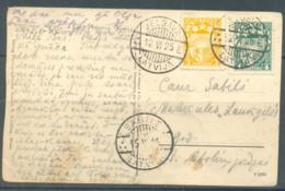 Latvia 1925 Postcard, Jelgava-Sabile, 2 Stamps, Used - Lettland
