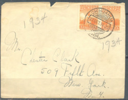 Mexico 1934 Cover Front Side Cut, Chihuahua-USA, 2 Stamps, Used - Mexico