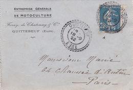 CARTE LETTRE DEPART  QUITTEBEUF  EURE    LE  18 SEPTEMBRE 1922    VERS  PARIS - France