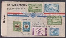 1944. VENEZUELA. 7 Stamps On Interesting Cover From CARACAS. AIR MAIL ToPORT AU PRINC... (Michel 409+) - JF362350 - Haïti