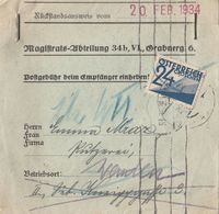 Ö-Nachporto 20.Feb.1934 - 24 Gro Nachporto Auf Rückstandsausweis, Gebrauchsspuren - Portomarken