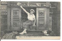 FOLKLORE BRETON (BASSE-BRETAGNE) : LE LIT CLOS - La Jolie Marion Se Décide à Se Lever. CPA. - People